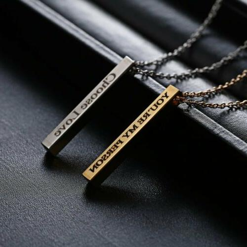 Personalized Engraved Your Name Stainless Steel Pendant Jewelry