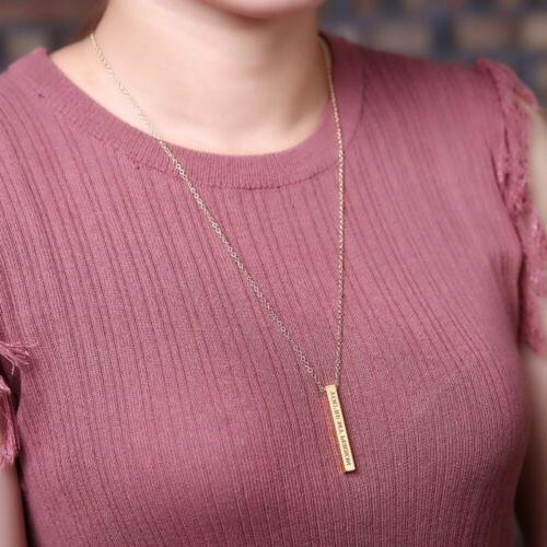 New Personalized Stainless Name Bar Date Necklace Pendant