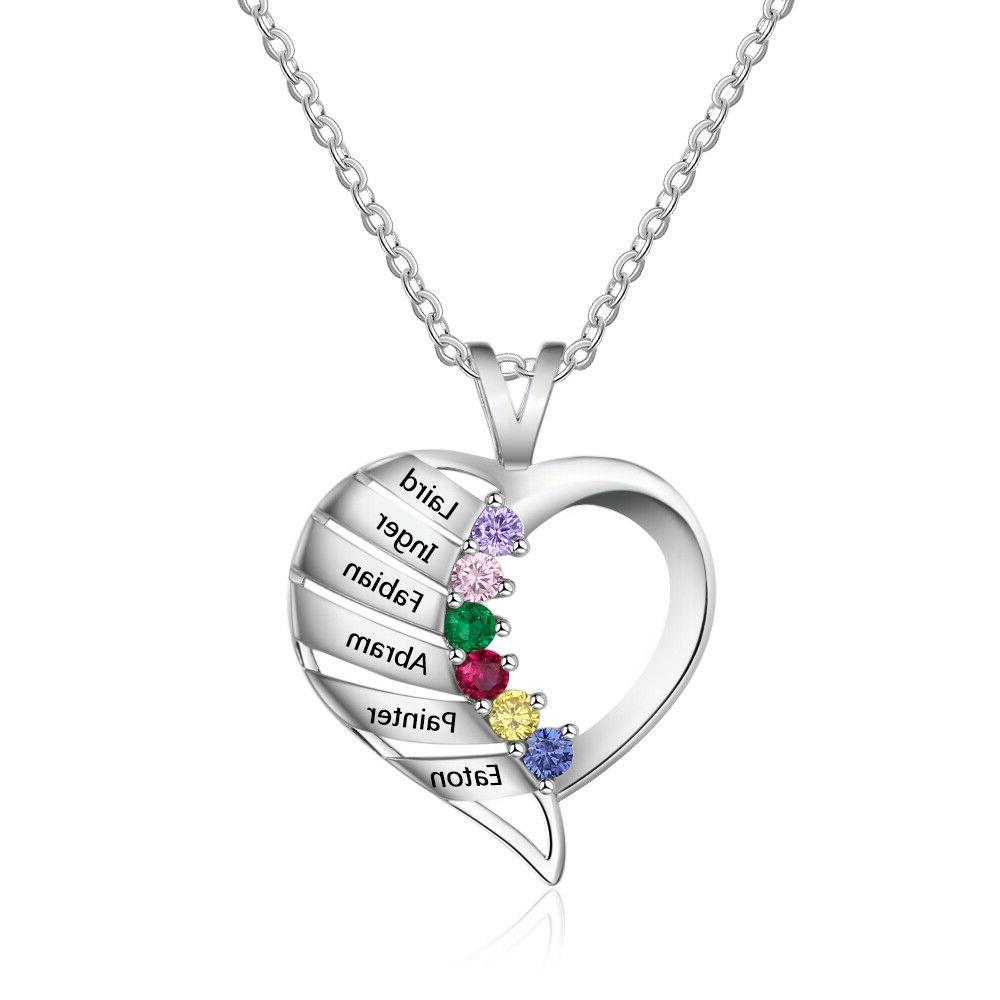 Personalized Engraved 6 Birthstone Name Mom USA