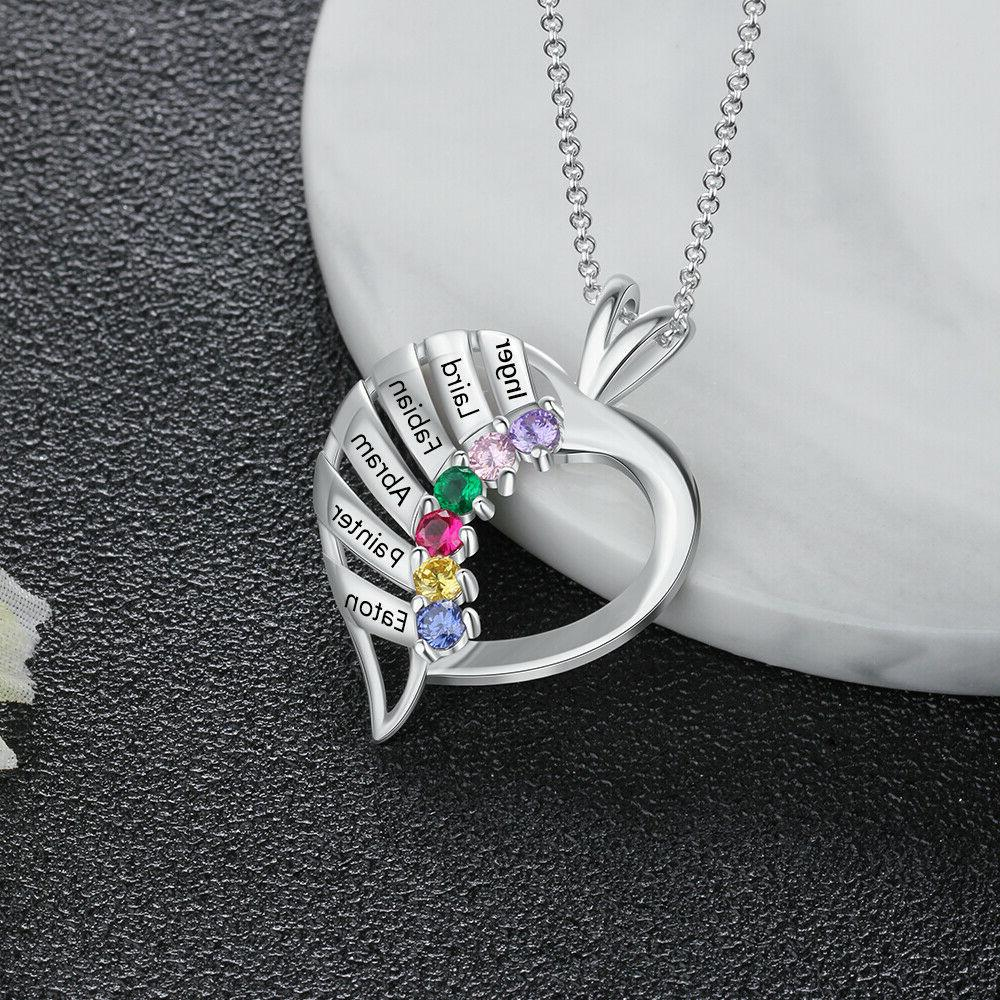personalized engraved silver necklace 6 birthstone name
