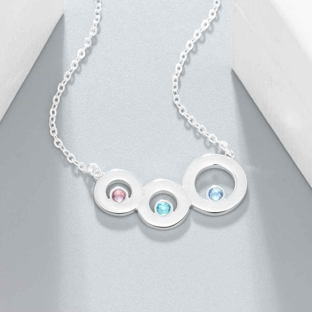 Personalized Family Names Birthstones Necklace Gift for Mother