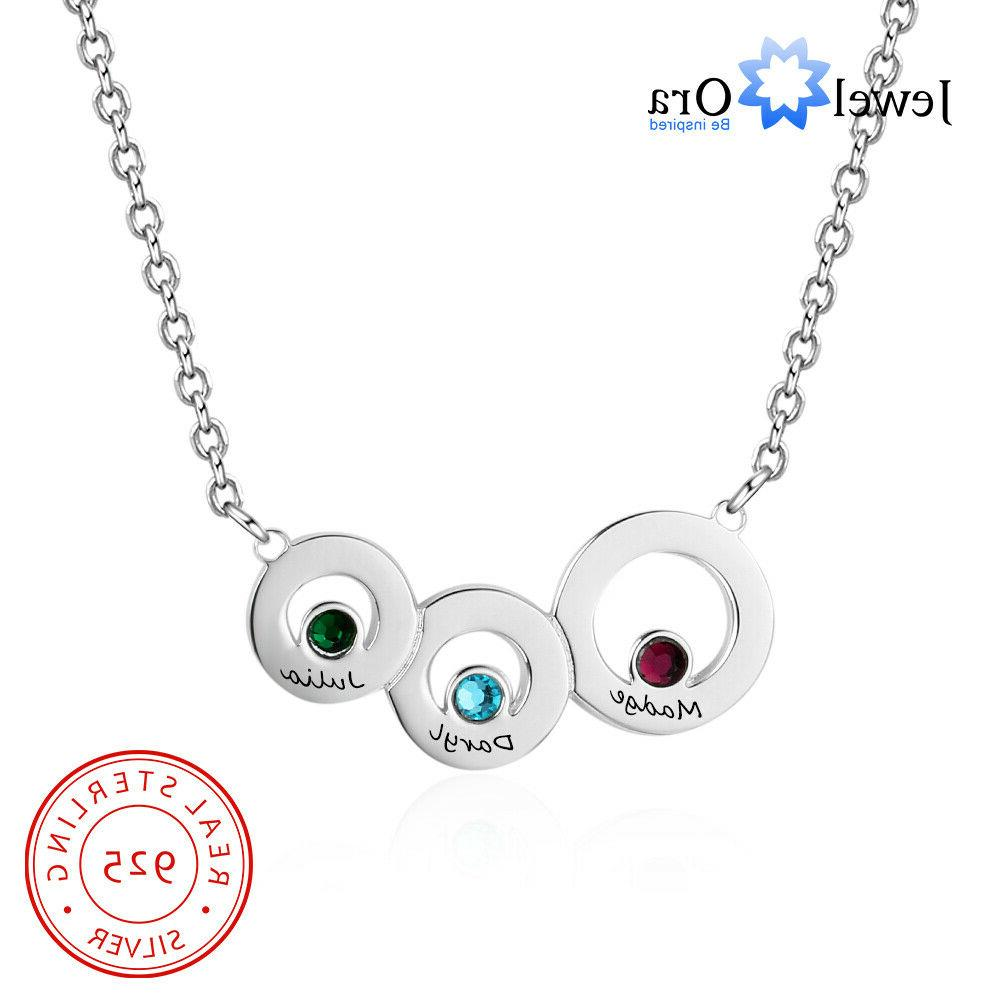 personalized engraving family 3 names birthstones necklace