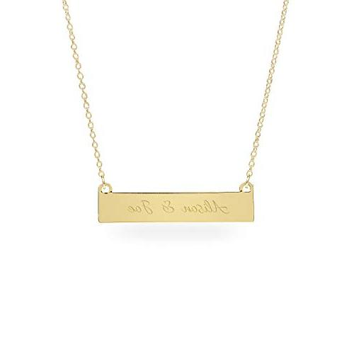 personalized gold horizontal id bar necklace