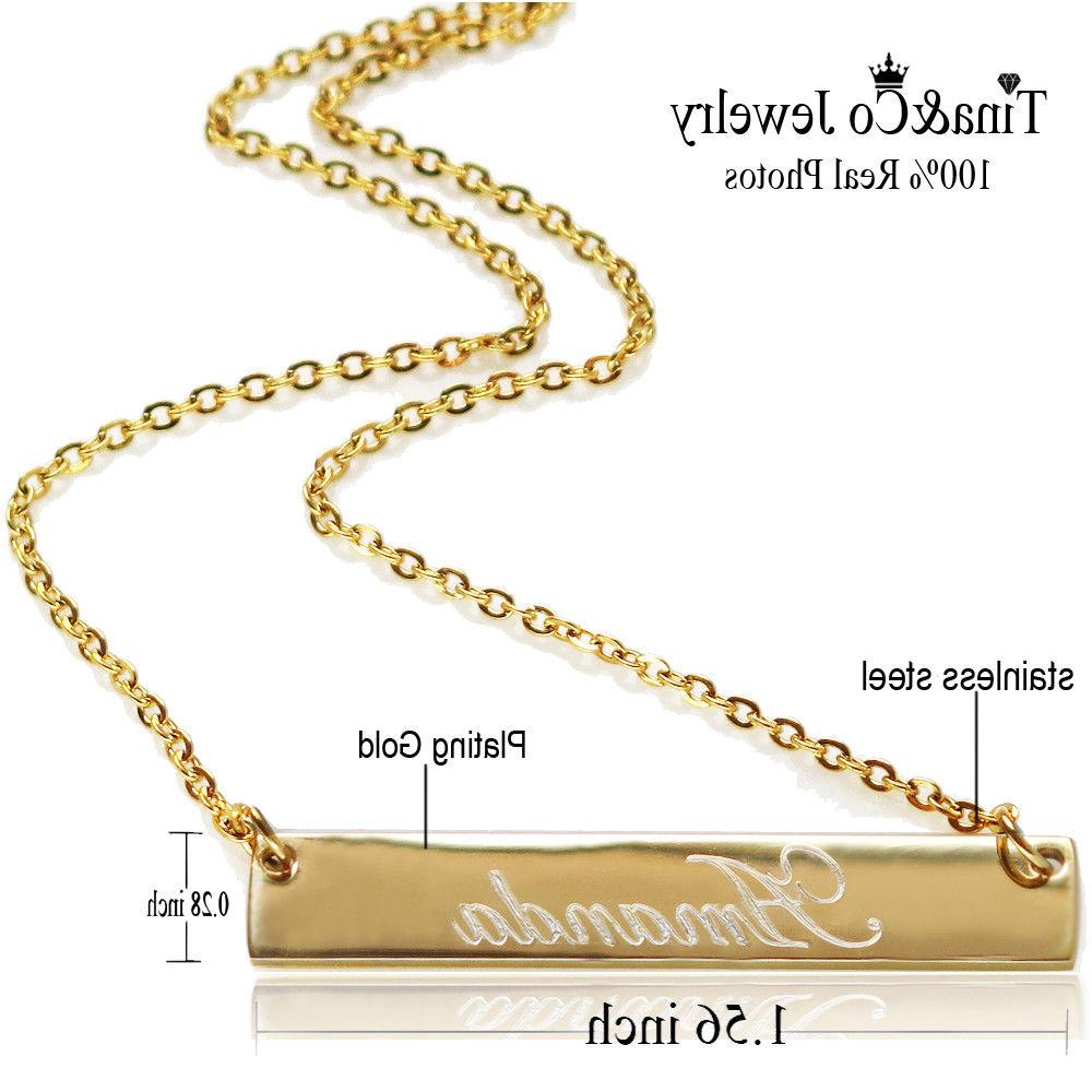 Personalized Initial Gold Bar Engraved Name