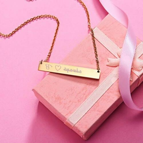 Stainless Steel Bar Necklace Custom Engraved Jewelry Gifts US