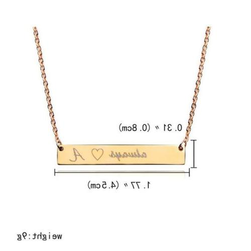 Personalized Name Bar Necklace Stainless Steel