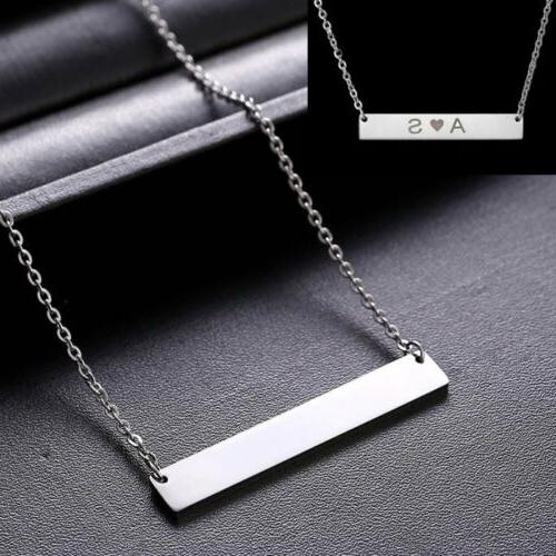 personalized name bar pendant necklace custom engraved
