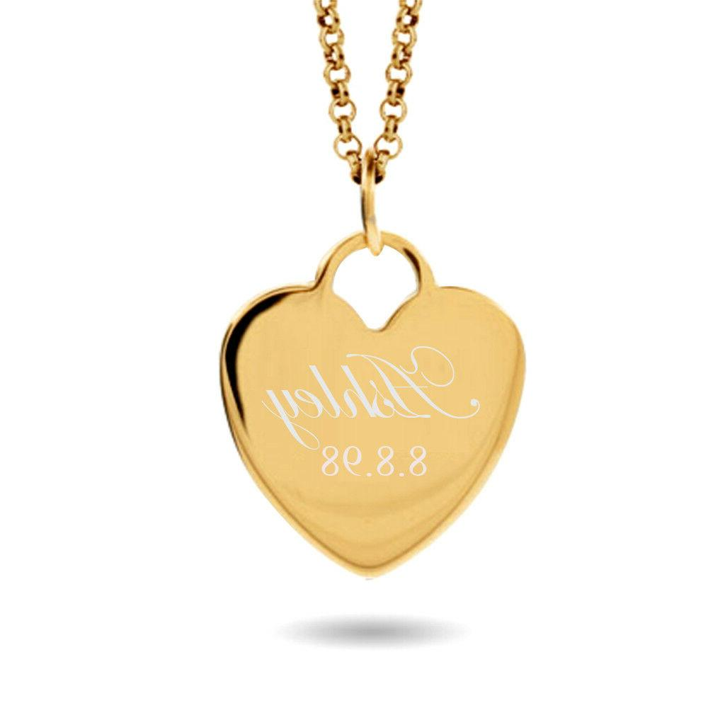 personalized name heart necklace custom engraved gold