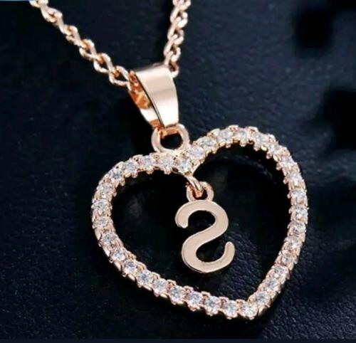 Personalized Initial Letter Necklace Rose Color Crystal