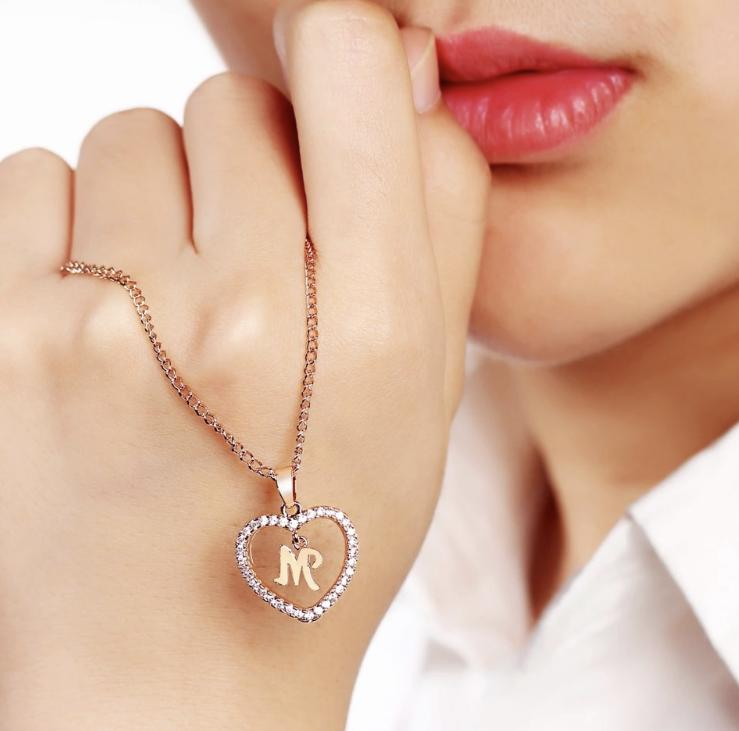 Personalized Name Necklace Gold Crystal