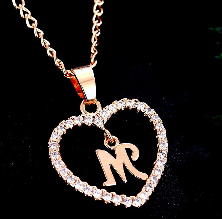Personalized Necklace Color Crystal Heart