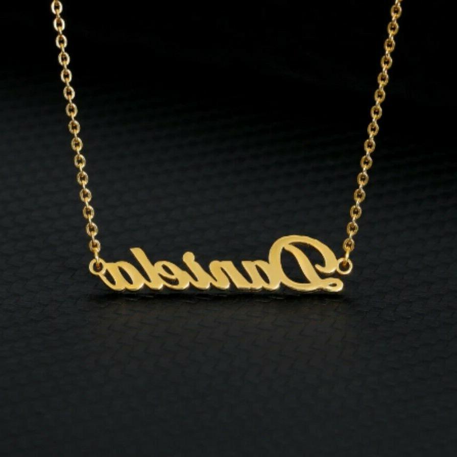 Personalized Name Necklace Custom Font Style Women Men Silve