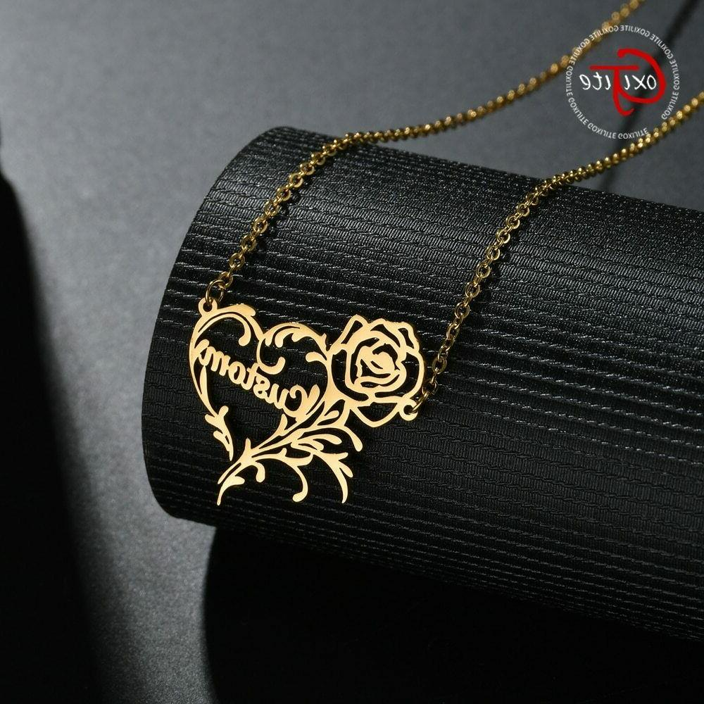 personalized name rose heart necklace customized name