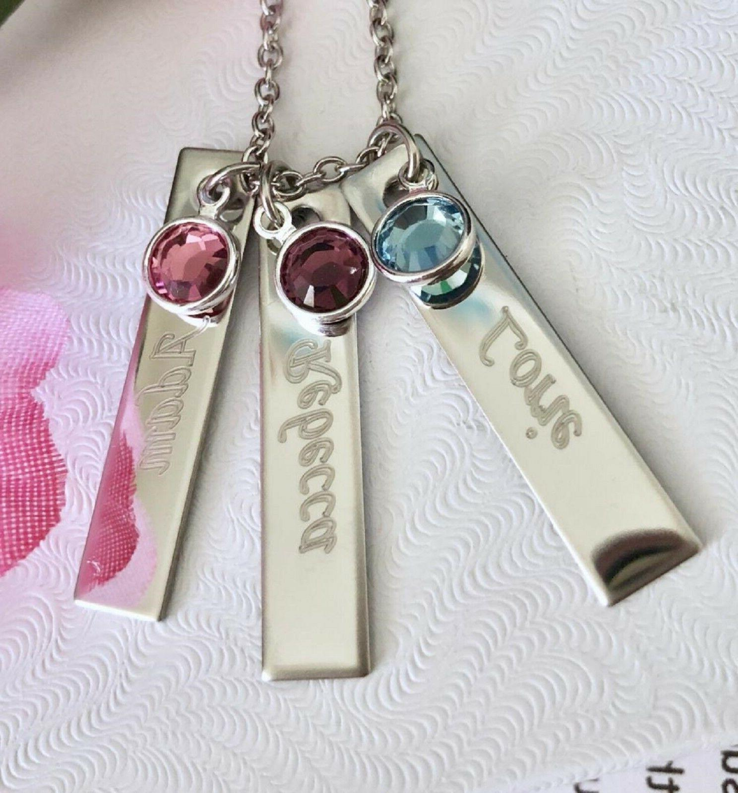Personalized name/stone Stainless Name Bar Vertical