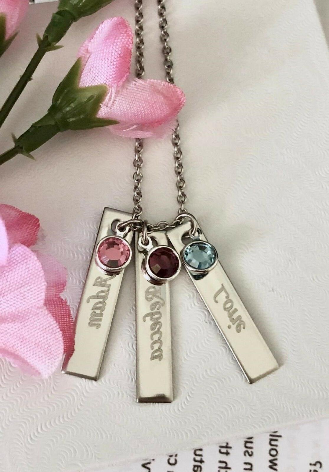 Personalized name/stone steel Name Bar Necklace Bar