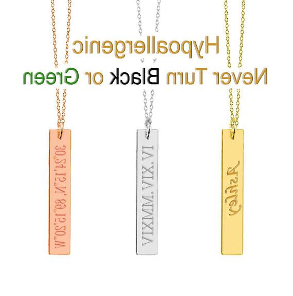personalized name vertical bar necklace custom engraved