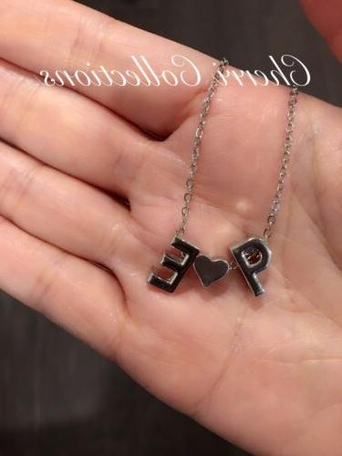 Personalized Necklace Name 2 Heart Alphabet