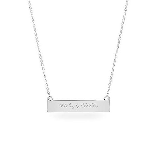 personalized silver horizontal id bar necklace