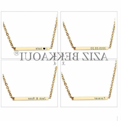 Personalized Stainless Name Bar Necklace Date