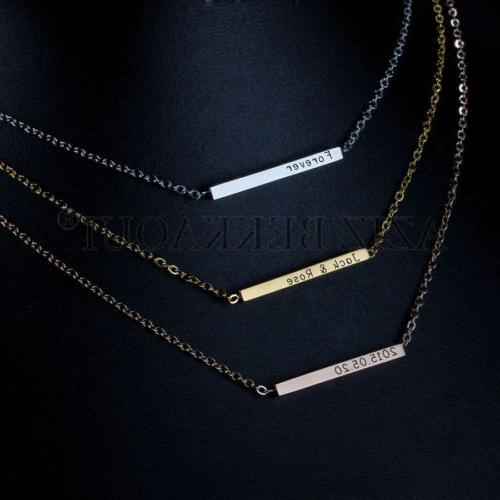 personalized stainless steel id name bar necklace