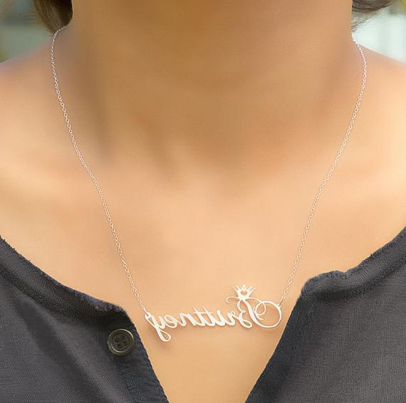 Personalized Sterling Silver Gold Name Plate Necklace 2020