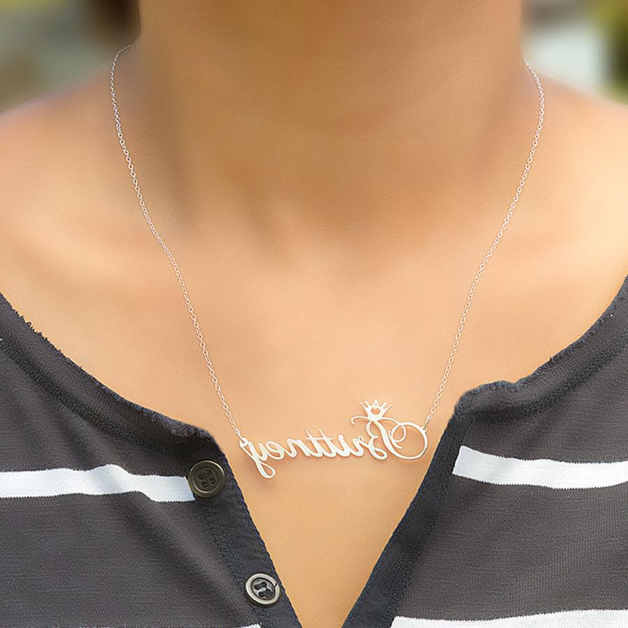 Personalized Silver Name Script Chain Necklace Crown 2020