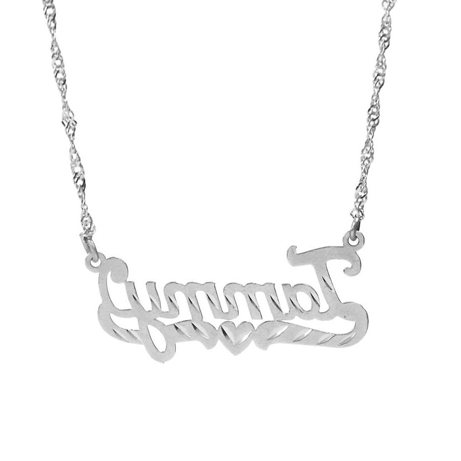 Personalized Sterling Silver Any Name Plate Necklace with Cut
