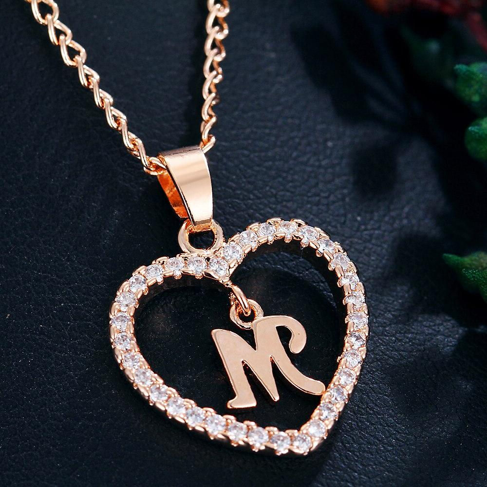 IF Romantic Gold Color Zirconia Love Heart <font><b>Name</b></font> 26 Letters