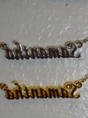samantha name necklace with rhinestone gold or
