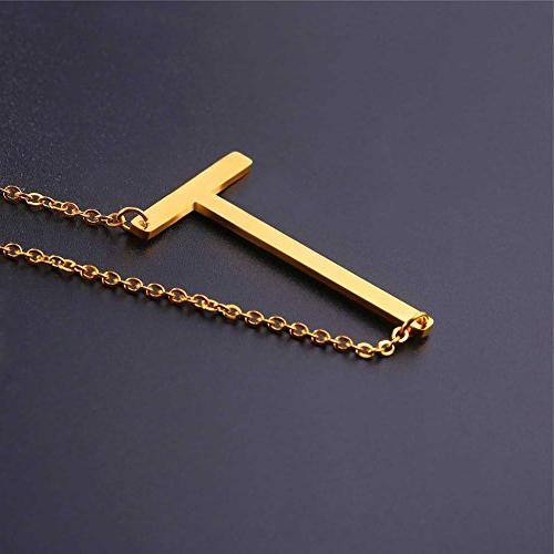 U7 Sideways Large Necklaces Letter Script Name Necklaces 18K Pendant Monogram Necklace for Gift