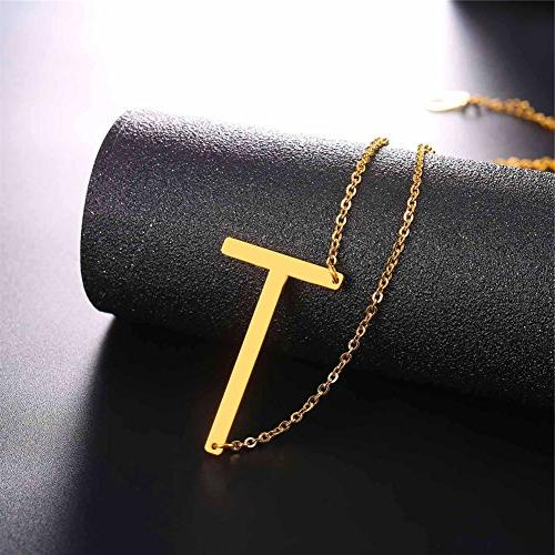 U7 Necklaces Big Letter Name 18K Plated Monogram for Women Gift