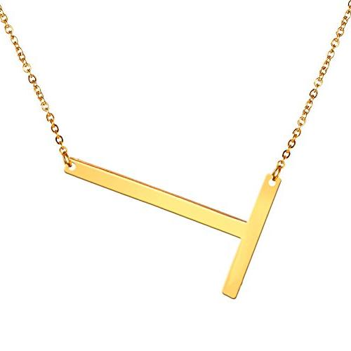 sideways large initial necklaces big letter script