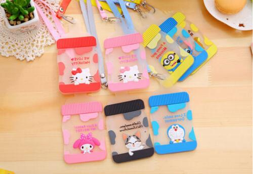 Silicone Cartoon ID Card Holder Card Name Necklace Neck Strap Lanyard