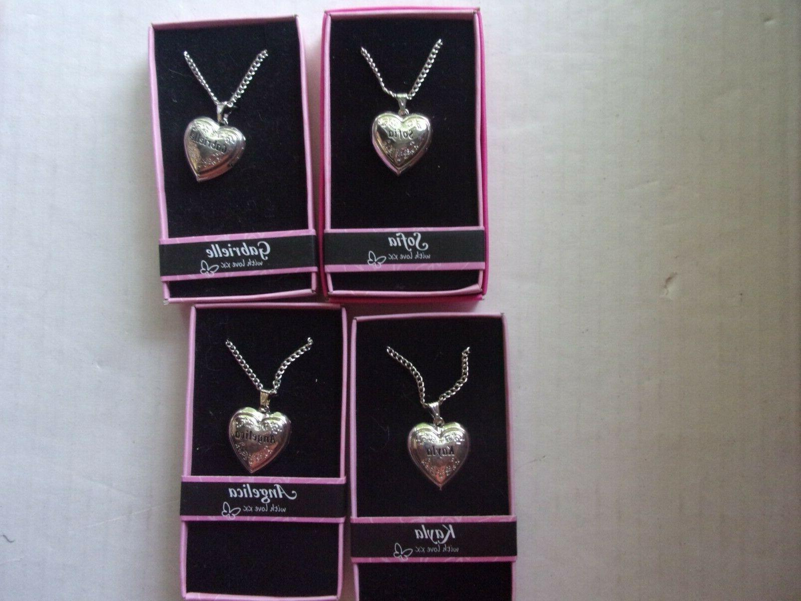 silver colored heart shaped personalized name photo