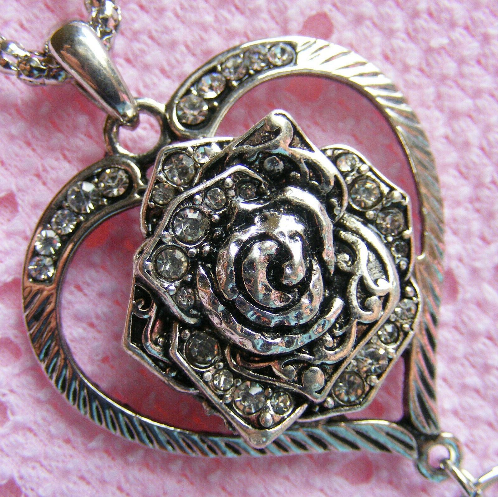 Silver Rose Jewel Heart ID Badge Key Card Necklace