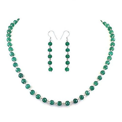 20-22 inches long Colombian 4mm Emerald Necklace with Earrin