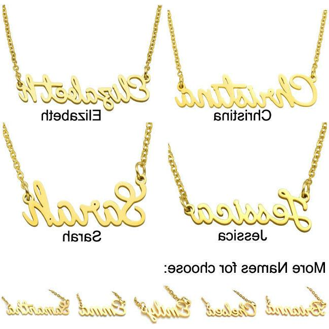 Stainless Lettering Golden Pendant Chain Necklace