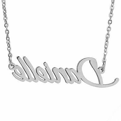 stainless steel calligraphy initial name necklace pendant