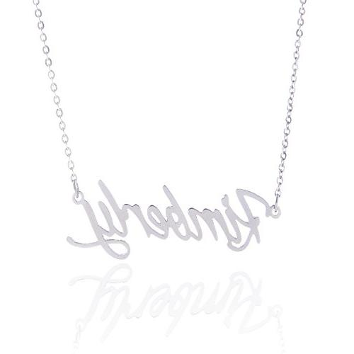 stainless steel custome nameplate necklace kimberly