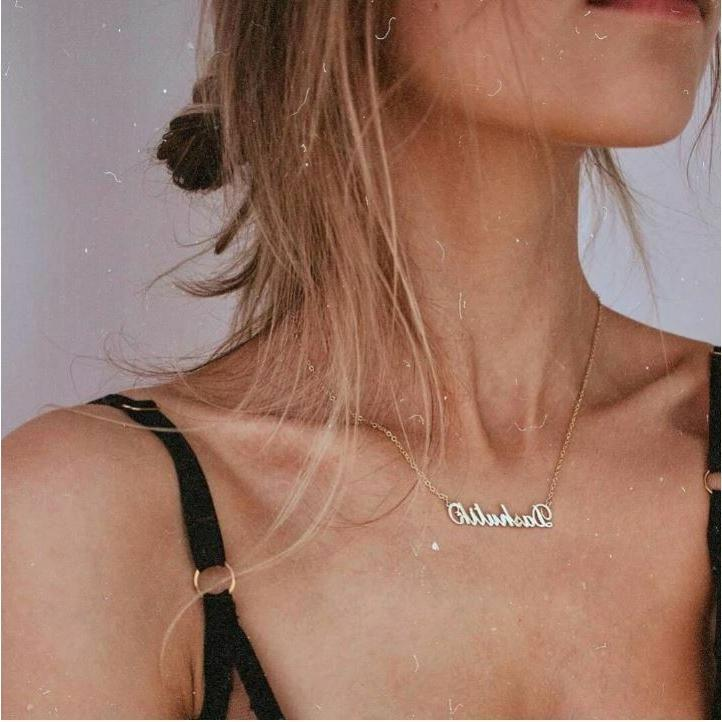 stainless custom name necklace gift her