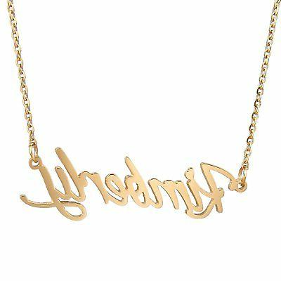 Stainless Steel Name Necklace Gold Plated With Chain Length