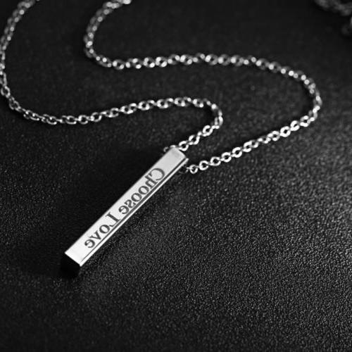 Stainless Steel 4-Sides Name Pendant