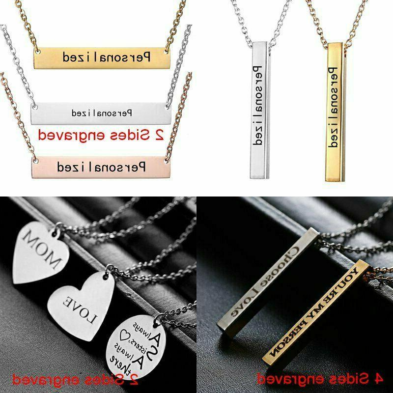 Stainless Personalized Name Bar Engraved Jewelry Gifts