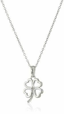 Sterling Silver Diamond Accent Four Leaf Clover Pendant Neck