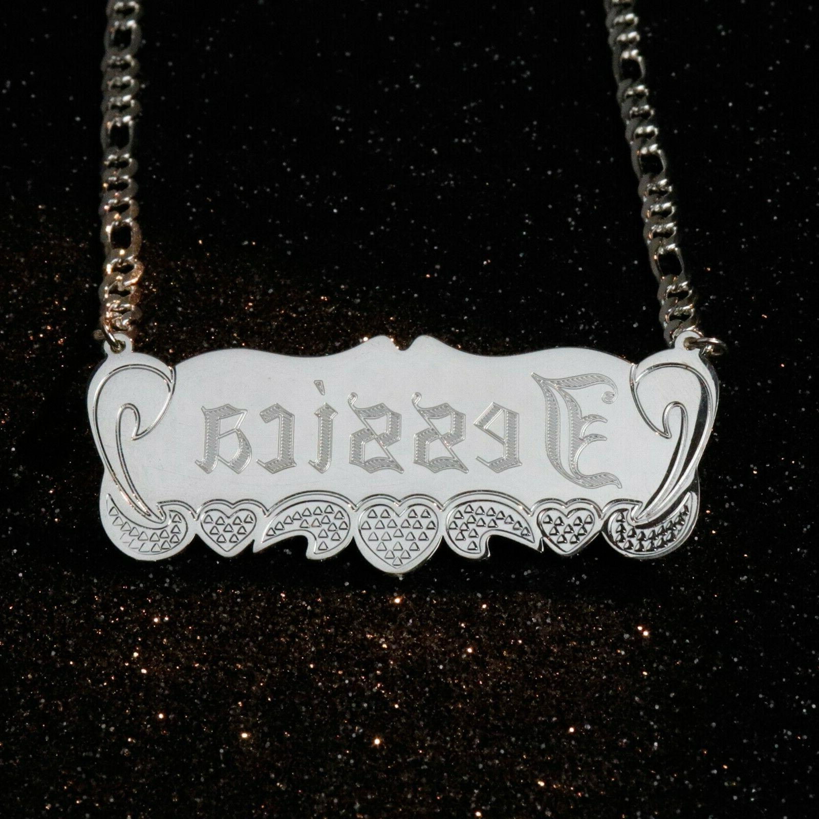 Sterling Necklace Name plate Pendant