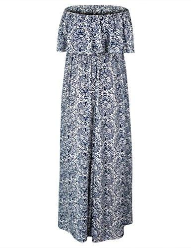 Yidarton Summer and White Porcelain Boho Long Dress Blue