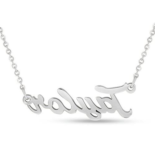 taylor nameplate necklace in silver tone