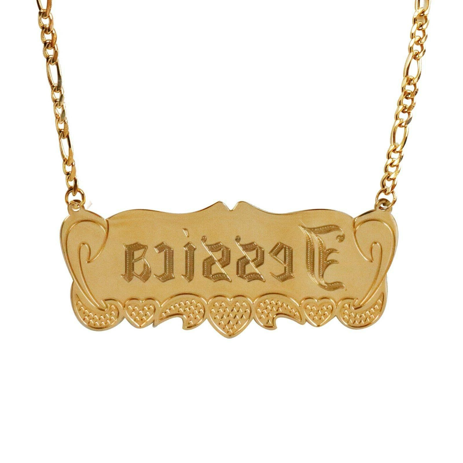 TINA&CO PERSONALIZED PLATED PLATE NECKLACE 14 NAME