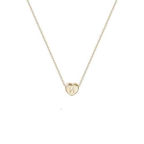 tiny gold initial heart necklace 14k gold