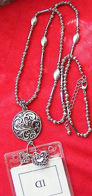 Tree Life Scroll Heart ID Badge Name Key Necklace